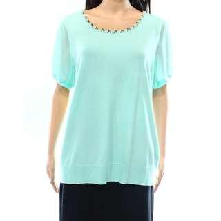 Cable & Gauge NEW Blue Women's XL Embellished-Neck Knit Top Blouse
