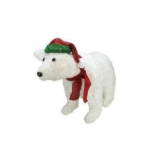"23"" Lighted White Plush Glittered Polar Bear Christmas Outdoor Decoration"