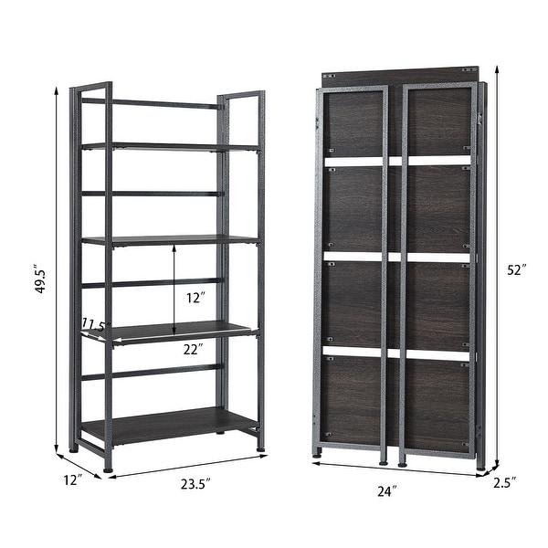 4-Tier Folding Bookshelf Foldable Metal Storage Shelf Portable Display Rack Wood