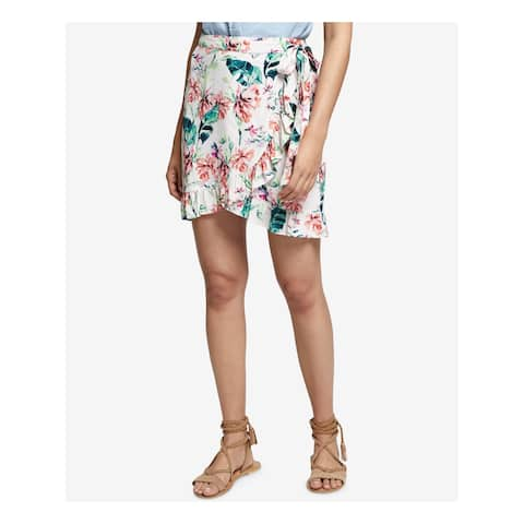 SANCTUARY Womens Ivory Printed Above The Knee Wrap Skirt Size: L
