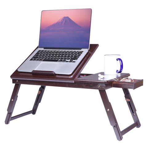 Lap Desk Wood Folding Tray Table Drawer Breakfast Bed Food Laptop TV Notebook