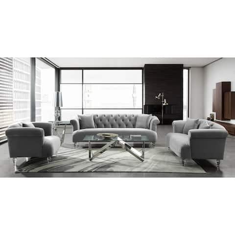 Armen Living Elegance Sofa in Velvet with Acrylic Legs