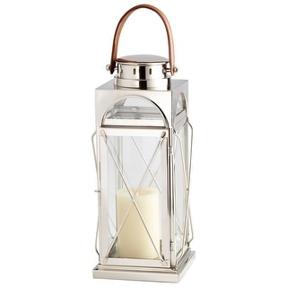 Cyan Design 09742  Lanterna Glass and Stainless Steel Lantern Candle Holder - Polished Nickel