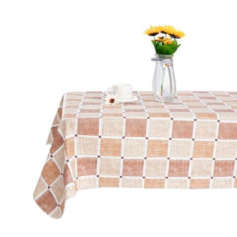 "Global Pronex Fashion Rectangle PVC Cotton Tablecloth - 90 x 52 Inch - 90""X52"""