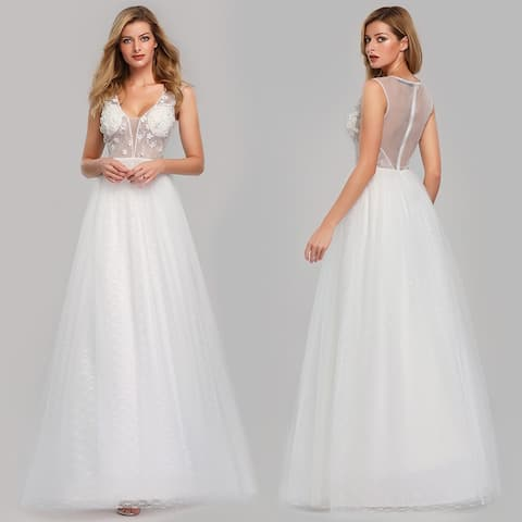 Ever-Pretty Womens Elegant A-Line Floral Lace Bridal Gowns Wedding Dresses for Bride 07834
