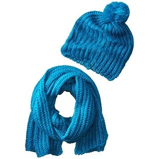 Concept One Womens Sequined Pom Beanie Hat & Scarf Set - o/s