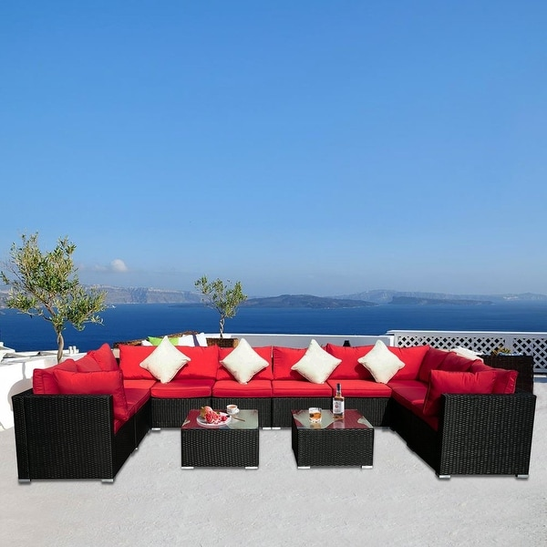 Zenova 12 Pieces Of PE Rattan Wicker Modular Sofa Set Patio Sofa With Pillows And Cushions. Opens flyout.