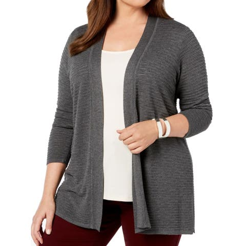 Charter Club Women's Sweater Gray Size 2X Plus Cardigan Open Front