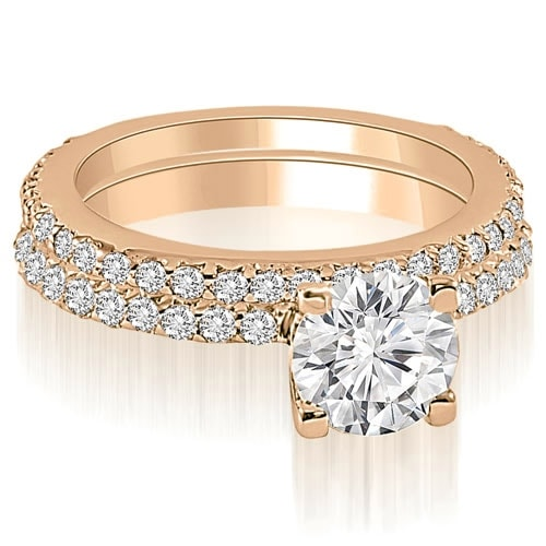1.26 cttw. 14K Rose Gold Round Cut Diamond Bridal Set