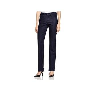 NYDJ Womens Marilyn Straight Leg Jeans Dark Wash Mid-Rise