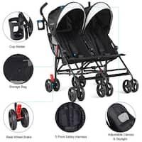 Baby-joy Foldable Twin Baby Double Stroller Kids Ultralight Umbrella Stroller Pushchair - Black