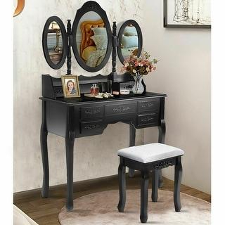 Costway Black Tri Folding Oval Wood Vanity Makeup Table Set 7 Drawers