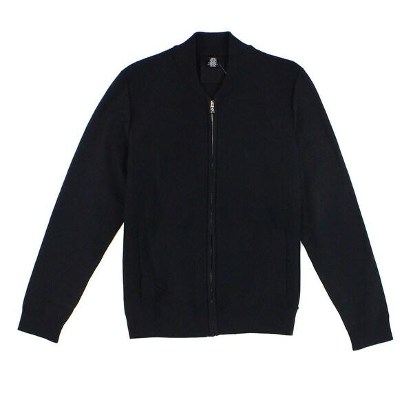 901eeb1475e8fb Shop Alfani NEW Solid Deep Men's Black Size XL Waffle Knit Full Zip ...