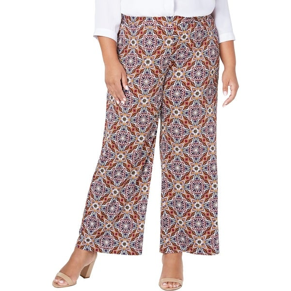 NY Collection Womens Plus Gaucho Pants Printed Stretch - Gold. Opens flyout.