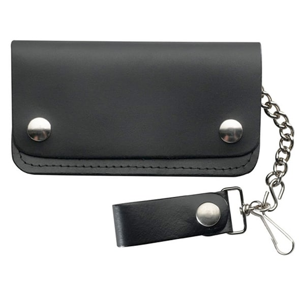 Plain Black Leather biker wallet with 5 pockets and safety chain - One size