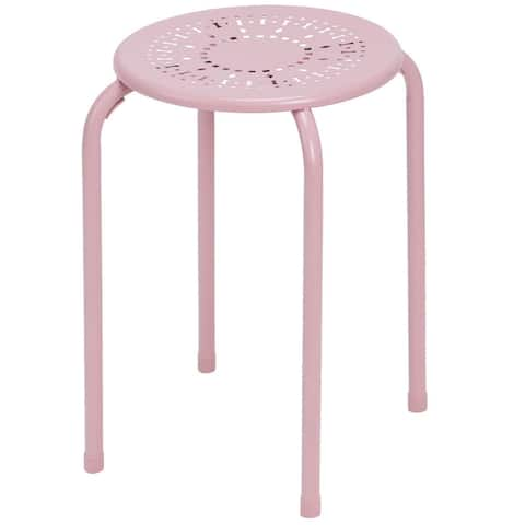 Set of 6 Stackable Daisy Backless Round Metal Stool Set-Pink