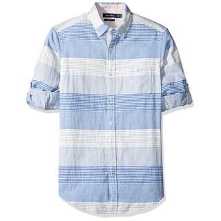 Nautica NEW Blue White Mens Size XL Striped-Plaid Button Down Shirt