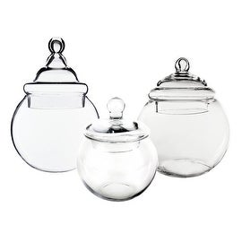 CYS? Apothecary Glass Jar Bubble Bowl Candy Buffet Containers/Vase with Lid, Set of 3