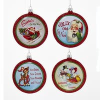 """Pack of 24 Retro Christmas Disc Ornaments 3"""" - RED"""