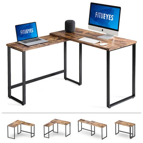 FITUEYES 360 Rotating L Shaped Desk Corner Table