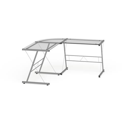 L-shaped Clear Glass and Metal Home Office Computer Corner Desk