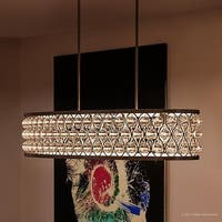 "Luxury Crystal Chandelier, 8""H x 15.5""W, with Moroccan Style, Oval Drum Design, Parisian Bronze Finish"