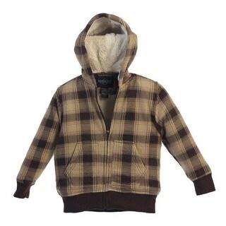 Boys Tan Brown Plaid Sherpa Lining Hooded Flannel Jacket 8-16