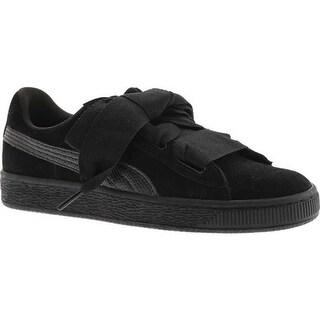 PUMA Girls' Suede Heart Jr. Sneaker Puma Black/Puma Black