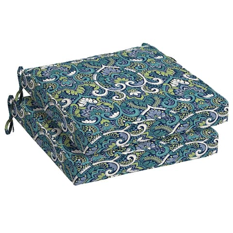 Arden Selections Sapphire Aurora Damask Outdoor Seat Cushion 2-Pack - 21 in L x 21 in W x 5 in H