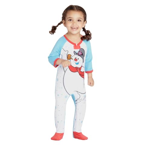 Frosty The Snowman Baby Fleece One Piece Footie Sleeper Holiday Pajama