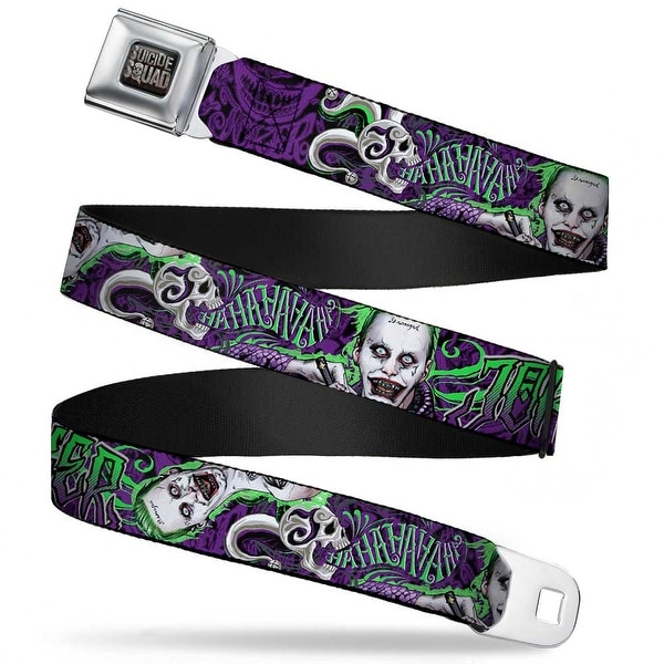 Suicide Squad Logo Full Color Black Gray Suicide Squad Joker Tattoo 2 Poses Seatbelt Belt