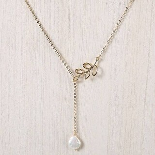 Mad Style Gold Pearl Drop Leaf Lariat Necklace