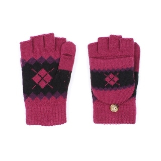 Unisex Skiiers Diamond Fingerless Mitten Gloves