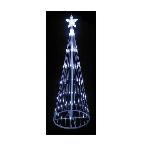 4' Polar White LED Light Show Cone Christmas Tree Lighted Outdoor Decoration