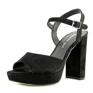 Steve Madden Shaarp Women Open Toe Canvas Black Platform Heel