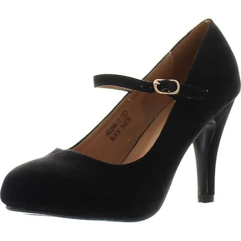 Bella Marie Helena-13 Women's Almond Toe Low Heel Mary Jane Glitter or Suede Pumps - Black