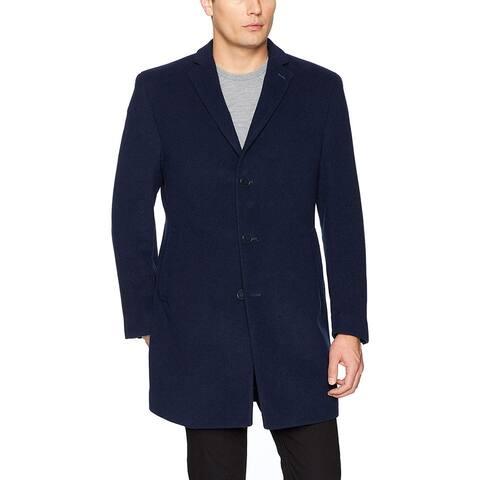Calvin Klein Blue Navy Mens Size 46L Three Button Coat Wool