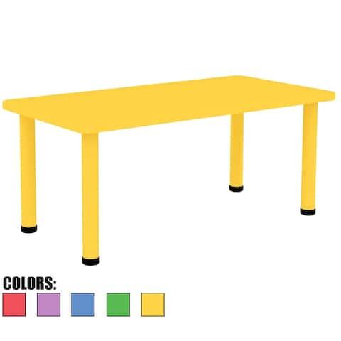 2xhome Adjustable Height Kids Table Rectangle Plastic Activity Metal Leg Toddler Child Children Preschool Daycare School Yellow