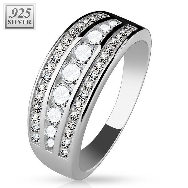 Micro CZ Pave with Larger Lined CZ .925 Sterling Silver with Authentic Rodium Finish Ring (Sold Ind)