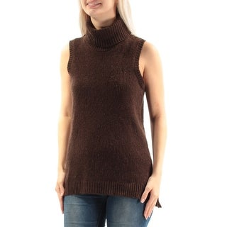 Womens Brown Sleeveless Turtle Neck Casual Hi-Lo Sweater Size S