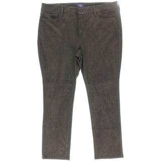 NYDJ Womens Petites Skinny Pants Faux Suede Flat Front
