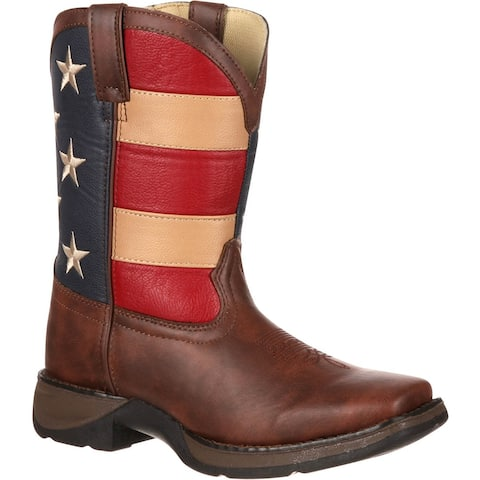 LIL' DURANGO®: Kids' brown and flag western boots, #BT245