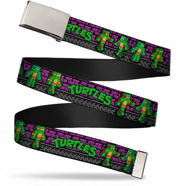 "Blank Chrome 1.0"" Buckle Classic Tmnt Block Turtle Poses Purple Grays Web Belt 1.0"" Wide - S"