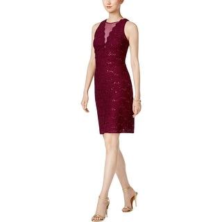 Nightway Womens Petites Bodycon Dress Lace Sleeveless
