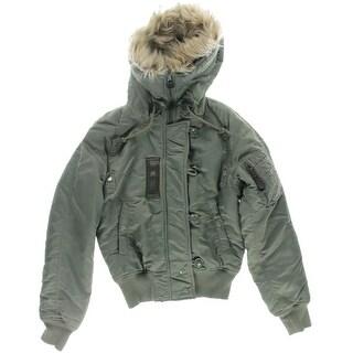 Denim & Supply Ralph Lauren Womens Bomber Jacket Faux Fur Long Sleeves
