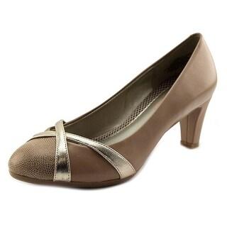 Easy Spirit Nerissa Women Round Toe Leather Tan Heels
