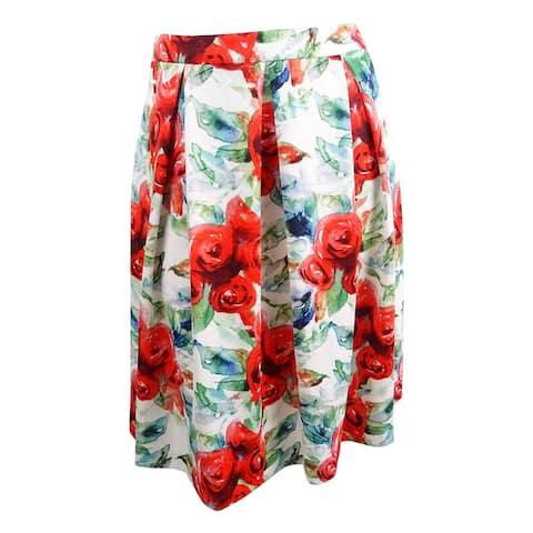 Tahari ASL Women's Floral-Print Scuba Skirt - Red/White/Green - 16