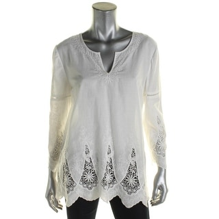 NYDJ Womens Petites Casual Top Eyelet Embroidered - pl