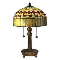 """19.5"""" Vintage Style Decorative Tiffany Table Lamp with Shade - Brown"""
