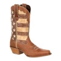 "Durango Boot Women's DRD0131 12"" Durango Crush Boot Brown/Union Flag Full Grain Leather/Faux Leather"